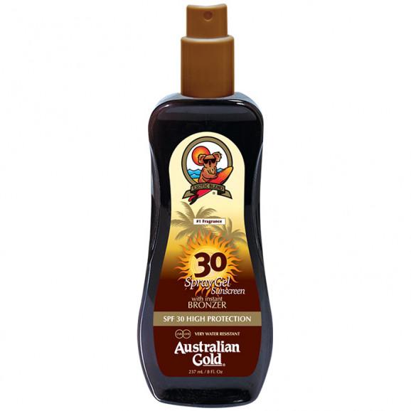 Bronzeador Australian Gold SPF 30 Spray Gel Sunscreen Instant Bronzer- 237ml