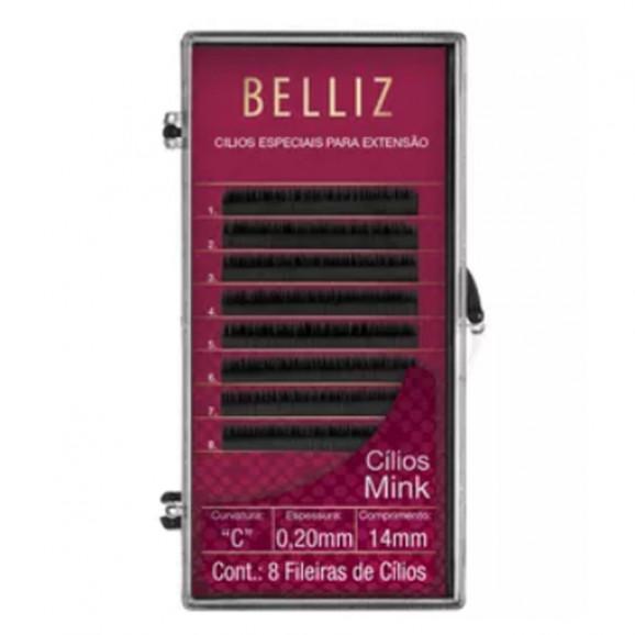 Cílios Belliz para Alongamento Mink C 020 14mm