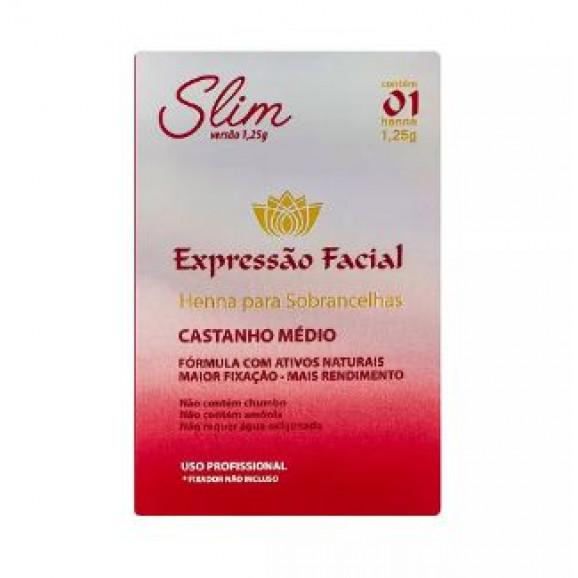 Henna para Sobrancelhas Expressão Facial Slim Castanho Médio