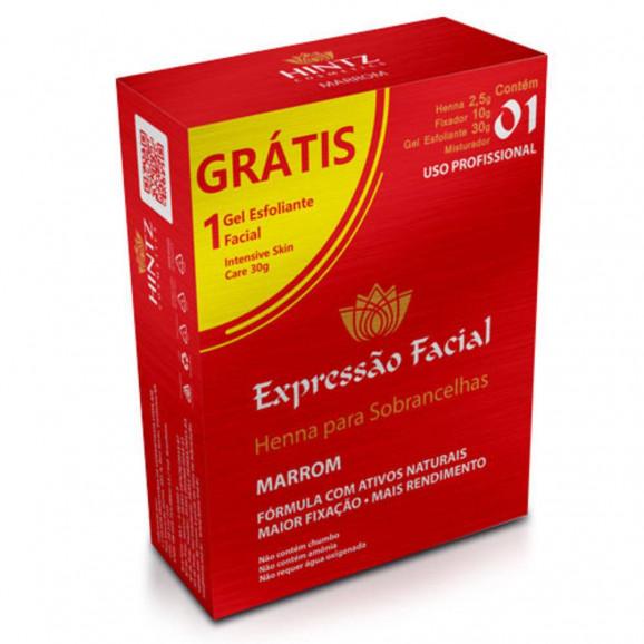 Henna para Sobrancelhas Expressão Facial Marrom + Gel Esfoliante 30g