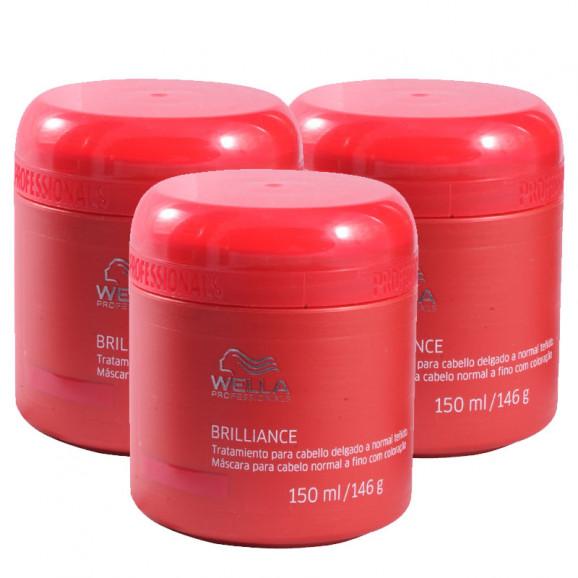 Kit Wella Professionals Brilliance Máscara Cabelos Normais a Finos 150 ml (3 Unidades)