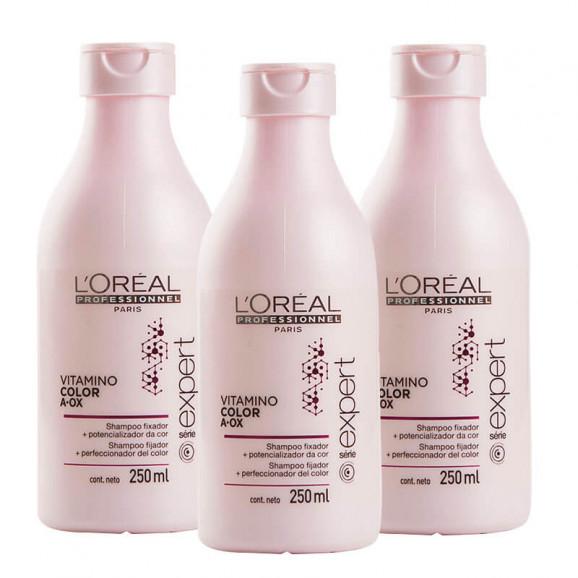 Kit Shampoo Loreal Professionnel Vitamino Color AOX 250ml (3 Unidades)