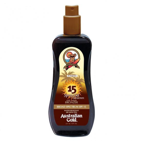 Australian Gold SPF 15 Spray Gel Sunscreen Instant Bronzer - Bronzeador 125ml