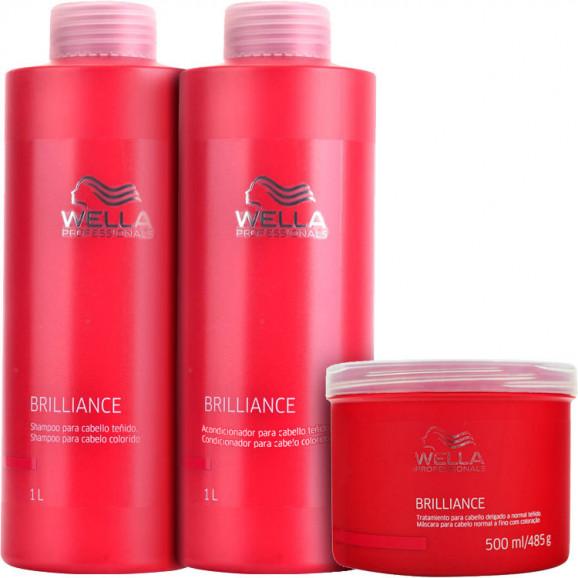 Wella Professionals Brilliance Intense Cabelos Finos Kit Litro (3 Produtos)